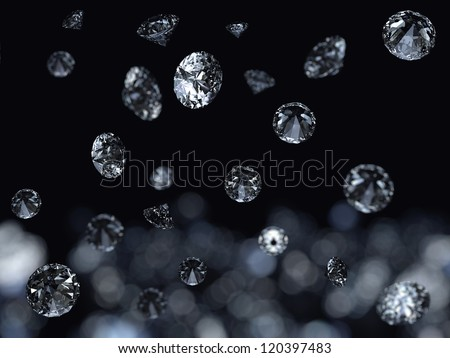 Falling 3D diamonds on black background - stock photo