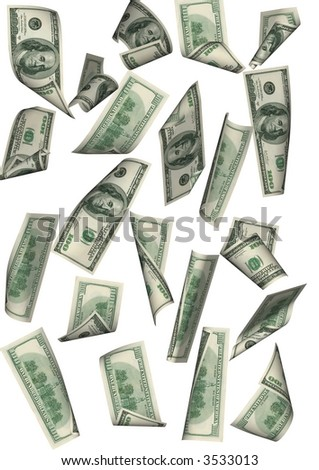 Falling 100 dollar banknotes far between on a white background. - stock photo