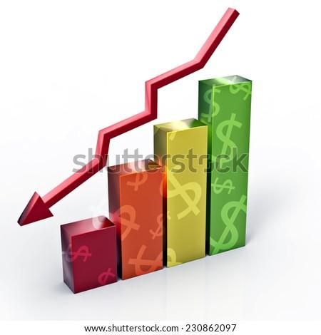 Falling Dollar graph - stock photo