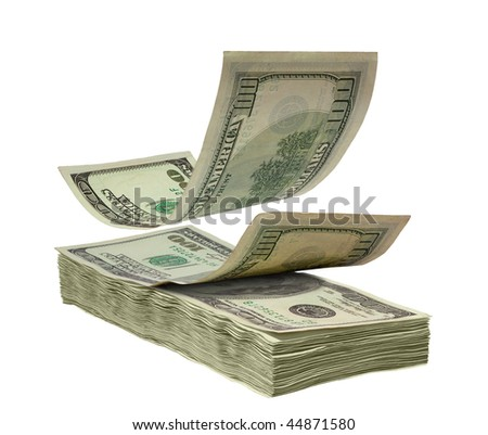 falling dollars to stack, isolated on white - stock photo