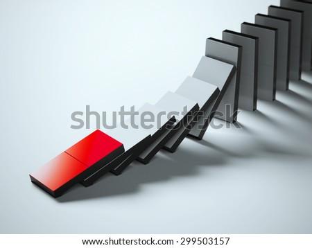 Falling dominoes - stock photo