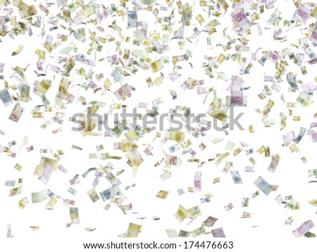 Falling down euros, rain 2 - stock photo