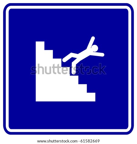 falling down the stairs sign - stock photo