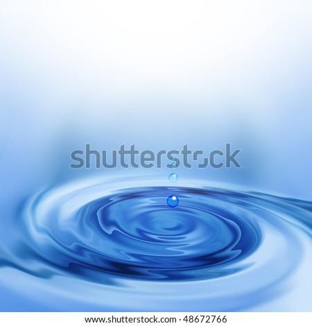 falling drops of water - stock photo