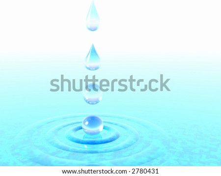 Falling drops of water. 3D rendering - stock photo