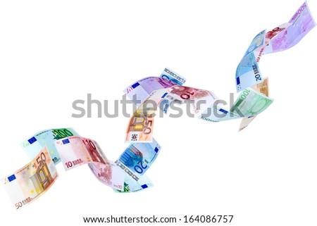Falling Euro banknotes isolated on white  - stock photo