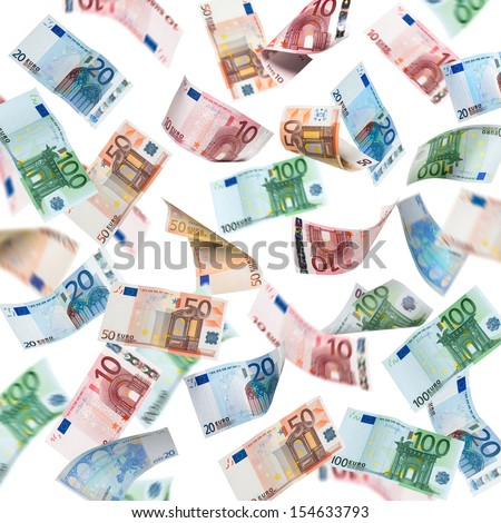 Falling Euro banknotes isolated on white background - stock photo