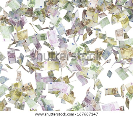 Falling euro bills. - stock photo