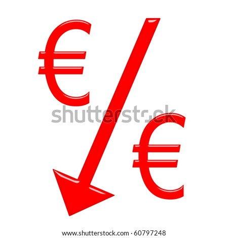 Falling Euro currency concept - stock photo
