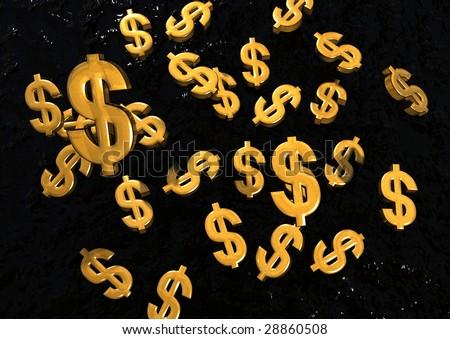 Falling Gold Dollar Signs - stock photo