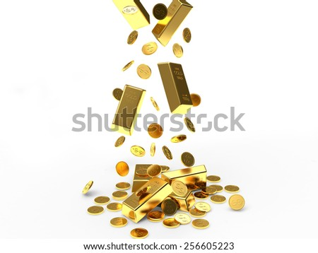 Falling golden coins and golden bars isolated on white background - stock photo