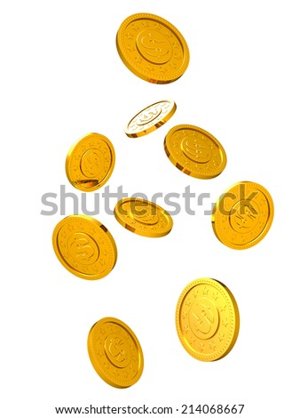 Falling golden coins isolated on white background. - stock photo
