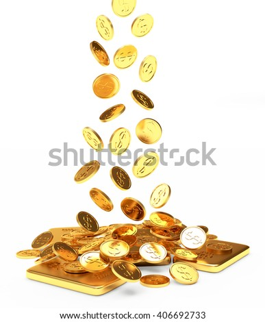 Falling golden coins on ingots isolated on white background. 3d illustration. - stock photo