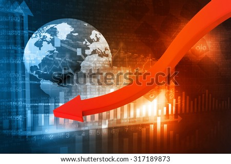 falling graph of global stock market	 - stock photo