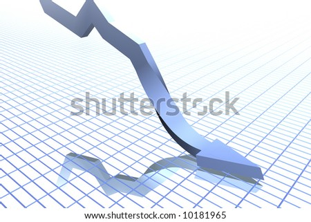 Falling Graph (twisted) - stock photo