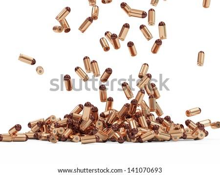 Falling Gun Bullets on white background - stock photo