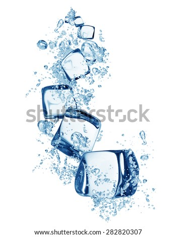 Falling ice cubes in water splashes isolated on white background - stock photo
