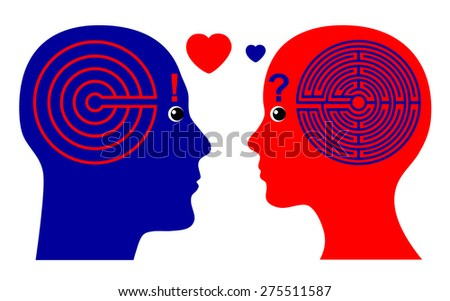 Falling in Love. Men fall in Love faster than Women according to psychological theories - stock photo