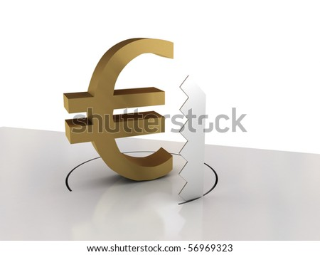Falling of euro isolated on white background. High quality 3d render. - stock photo