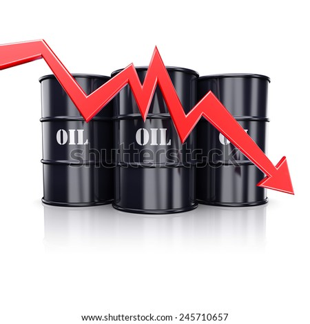 Falling oil price. Red arrow graph chart moving down near the barrels with oil. 3d illustration - stock photo