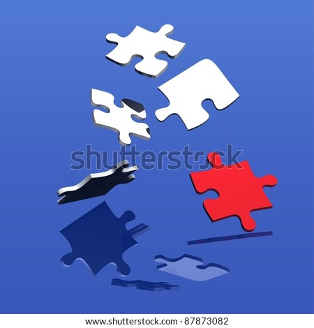 Falling Puzzle - stock photo