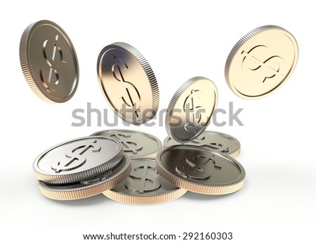 Falling silver coins close-up isolated on a white background - stock photo