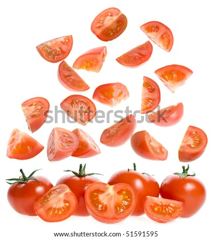 falling slices ripe tomatoes  isolated on white background - stock photo