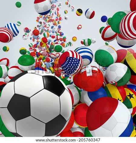 Falling soccer balls with flags of national teams. 3d illustration. - stock photo
