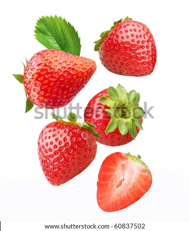 Falling strawberries. Isolated on a white background. - stock photo