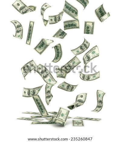 Falling US one hundred dollar bills, isolated on white.  - stock photo