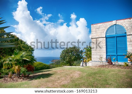 Falmouth bay - View from Dow Hill, Antigua, Caribbean - stock photo