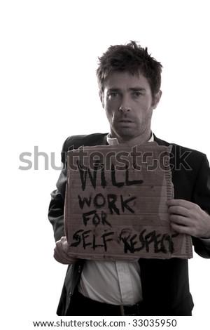 false color emotinal looking business man holding job sign - stock photo