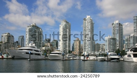 False Creek at Yaletown in downtown Vancouver, British Columbia, Canada. - stock photo