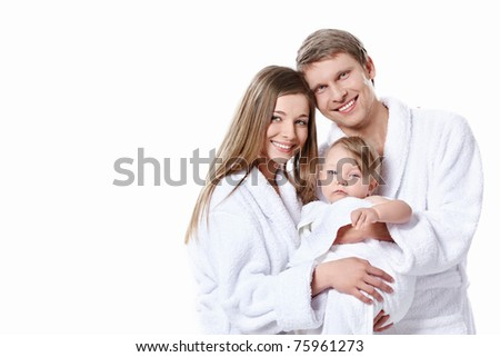 Families with babies in the gowns on white background - stock photo
