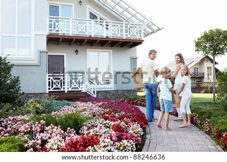 Families with children are moving - stock photo