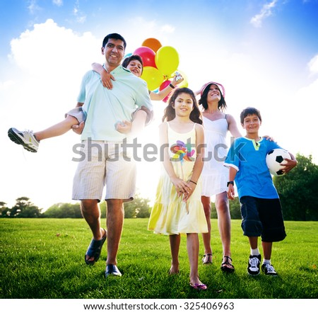 Family Activity Outdoors Picnic Relaxation Concept - stock photo