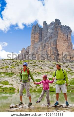 """Family adventure - Tre Cime di Lavaredo """" Drei Zinnen """" - Dolomite - Italy - stock photo"""