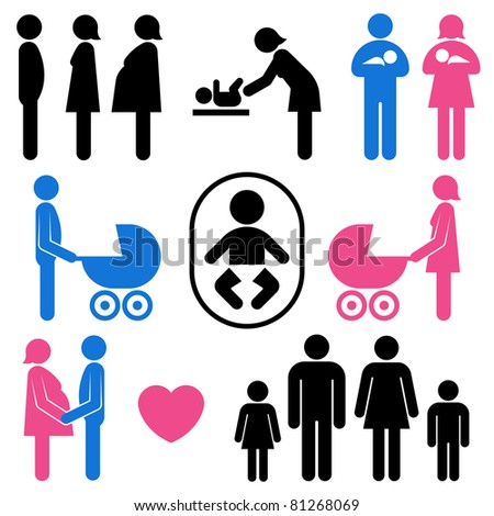 family and baby icon set - stock photo