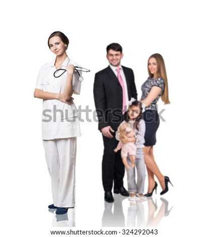 Family at the doctor appointment isolated on the white background - stock photo
