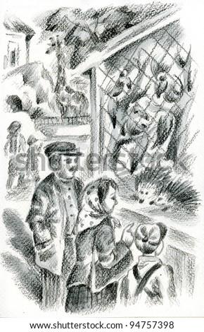 Family at the zoo. Pastel monochrome illustration. - stock photo