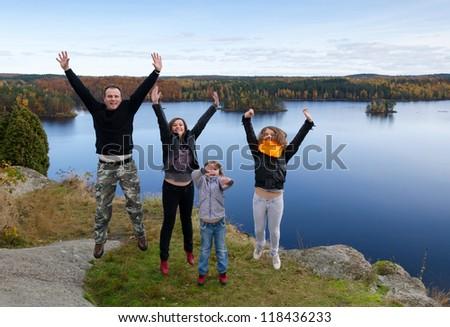 Family autumn expression - stock photo