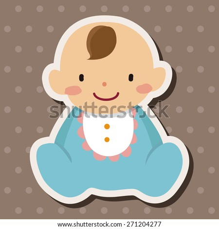 family baby character icon cartoon stickers icon - stock photo