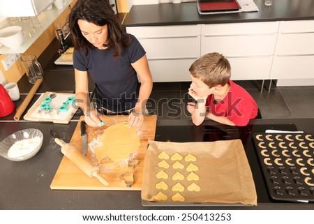 family baking cookies - stock photo