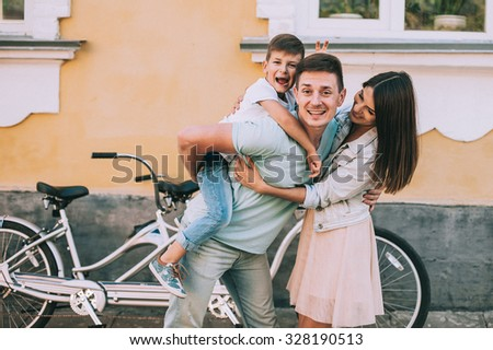 family bike tours Double - stock photo