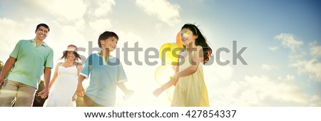 Family Bonding Cheerful Children Parenting Love Concept - stock photo