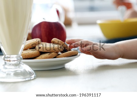 Family, breakfast. Kids by the table - stock photo