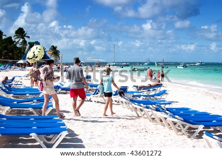 Family campaign on a beach - stock photo