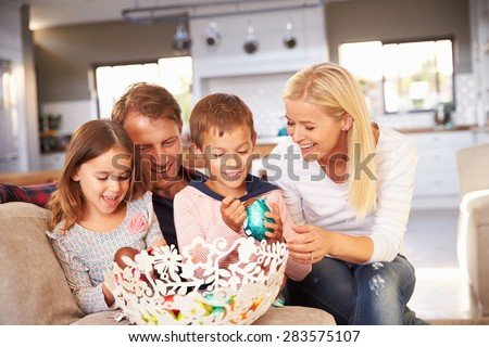 Family celebrating Easter at home - stock photo