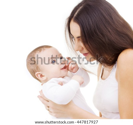family, child and parenthood concept - happy mother with smiling baby - stock photo