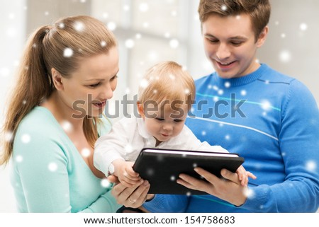 family, children, christmas, x-mas, love, technology concept - happy parents and adorable baby with tablet pc - stock photo